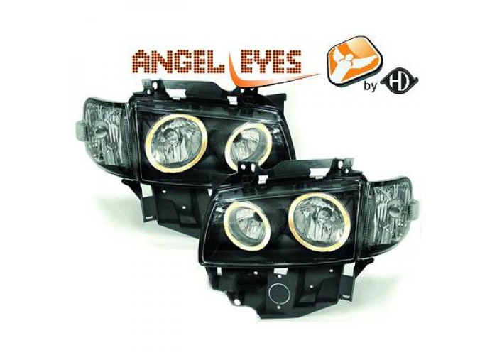 LHD Projector Headlights Pair Angel Eyes Clear Black For VW T4 Longnose 96-03 - 1