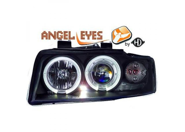 LHD Projector Headlights Pair Angel Eyes Clear Black H1 H1 For Audi A4 Avant - 1