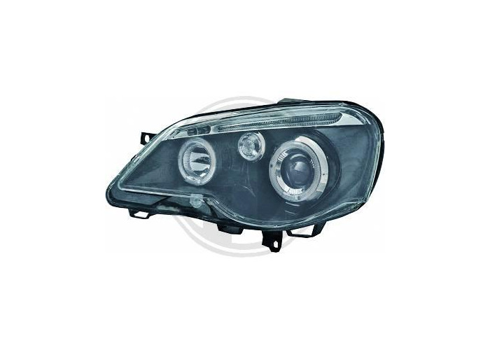 LHD Projector Headlights Pair Angel Eyes Clear Black H1 H1 For VW Polo 05-09 - 1
