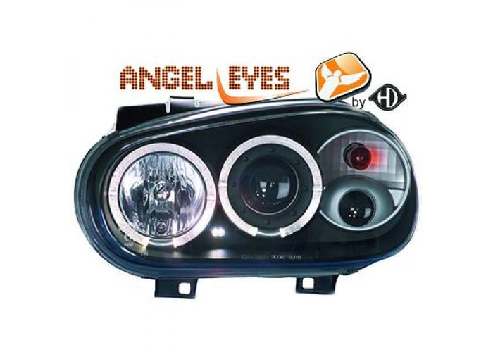 LHD Projector Headlights Pair Angel Eyes Clear Black H1 H1 H3 For VW Golf IV - 2