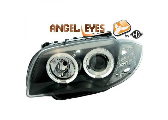 LHD Projector Headlights Pair Angel Eyes Clear Black H7 H7 For BMW E81 E87 04-11 - 1
