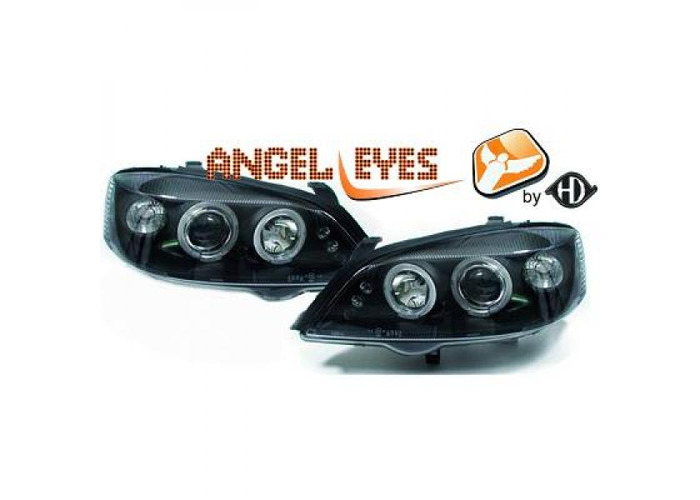 LHD Projector Headlights Pair Angel Eyes Clear Black Round For Vauxhall Astra G - 1