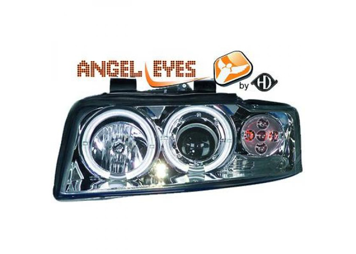 LHD Projector Headlights Pair Angel Eyes Clear Chrome For Audi A4 Avant 8E 00-04 - 1