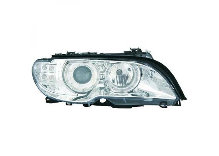 LHD Projector Headlights Pair Angel Eyes Clear Chrome For BMW 3 Series E46 03-07 - 2