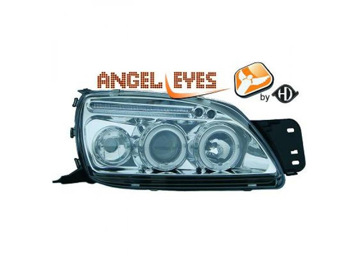 LHD Projector Headlights Pair Angel Eyes Clear Chrome For Ford Fiesta 95-02 - 1