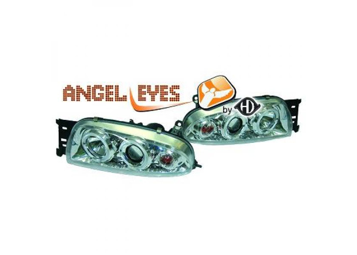 LHD Projector Headlights Pair Angel Eyes Clear Chrome For Ford Fiesta 95-99 - 2