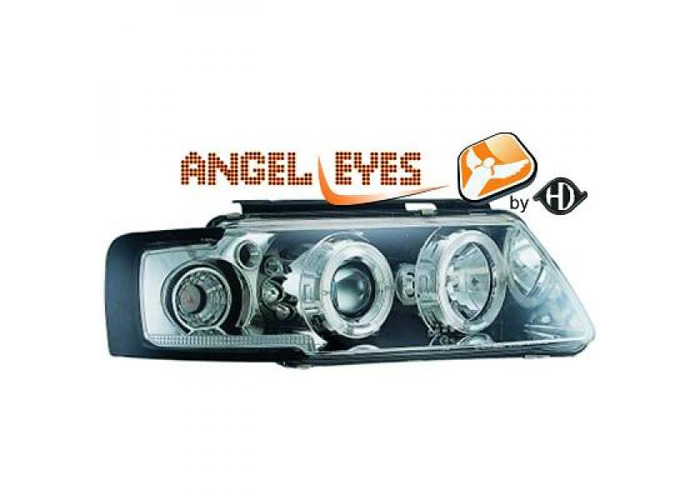 LHD Projector Headlights Pair Angel Eyes Clear Chrome For VW Passat B5 96-00 - 2