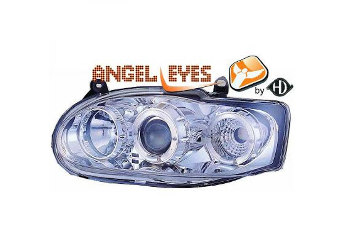 LHD Projector Headlights Pair Angel Eyes Clear Chrome H1 H1 For Ford Escort - 1