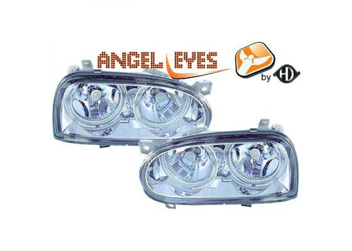 LHD Projector Headlights Pair Angel Eyes Clear Chrome H7 H7 For VW Golf III - 1