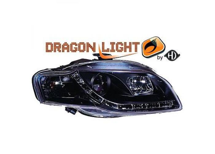 LHD Projector Headlights Pair LED Dragon Clear Black For Audi A4 Avant 8E 04-07 - 1