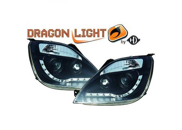 LHD Projector Headlights Pair LED Dragon Clear Black For Ford Fiesta 02-08 - 2