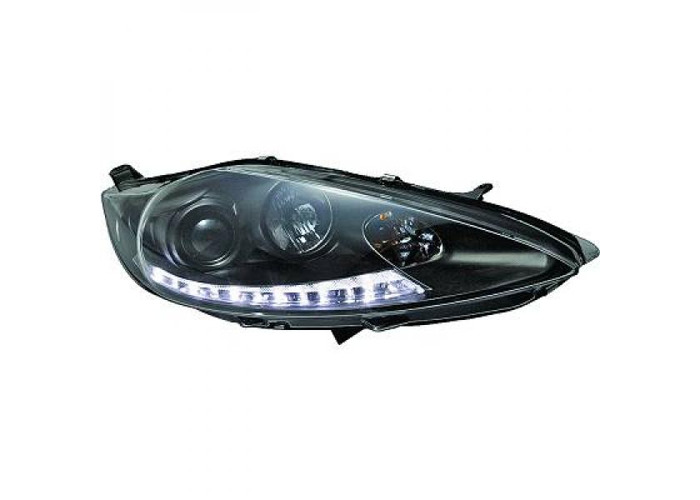 LHD Projector Headlights Pair LED Dragon Clear Black For Ford Fiesta 08-1 - 2