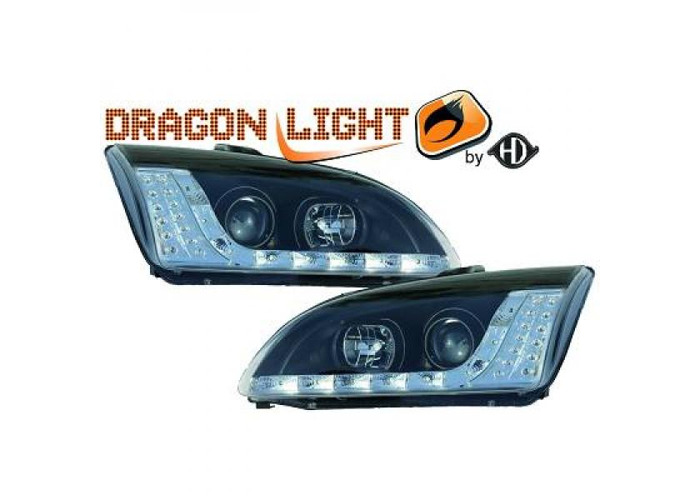LHD Projector Headlights Pair LED Dragon Clear Black For Ford Focus II 04-07 - 1