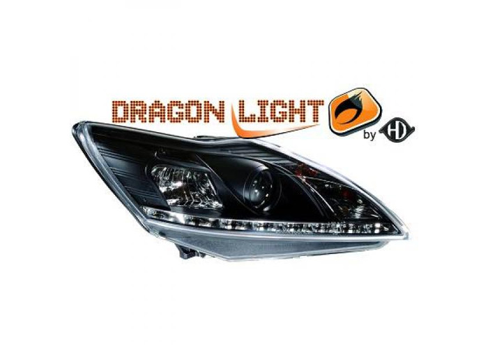 LHD Projector Headlights Pair LED Dragon Clear Black For Ford Focus III 0 - 2