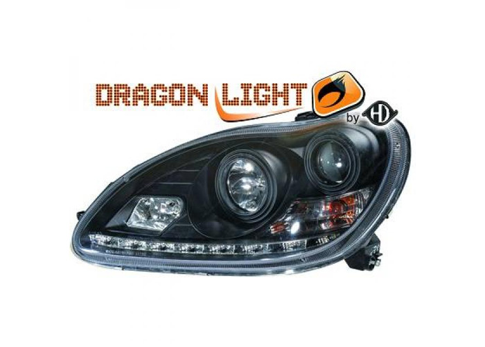 LHD Projector Headlights Pair LED Dragon Clear Black For Mercedes W220 98-05 - 2
