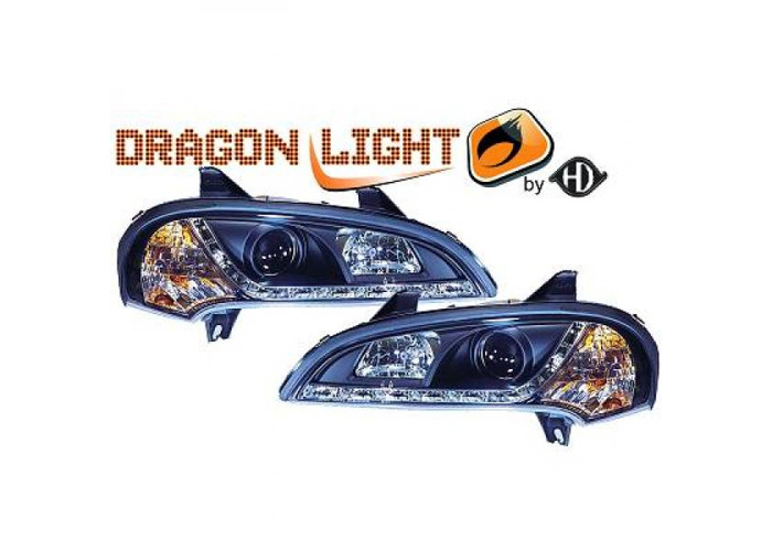 LHD Projector Headlights Pair LED Dragon Clear Black For Vauxhall Tigra 94-00 - 2