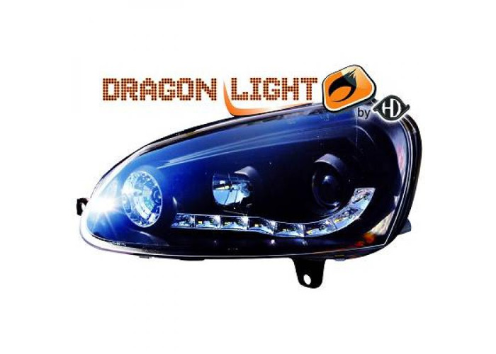 LHD Projector Headlights Pair LED Dragon Clear Black H1 H1 For VW Golf V 03-08 - 1