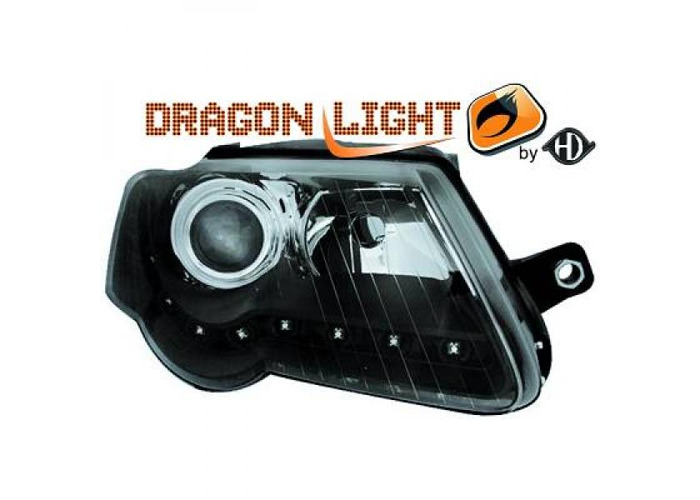 LHD Projector Headlights Pair LED Dragon Clear Black H7 H7 For VW Passat 05-10 - 1