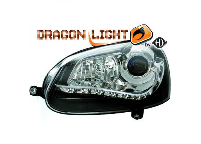 LHD Projector Headlights Pair LED Dragon Clear Black H7 PY21W For VW Golf V - 2
