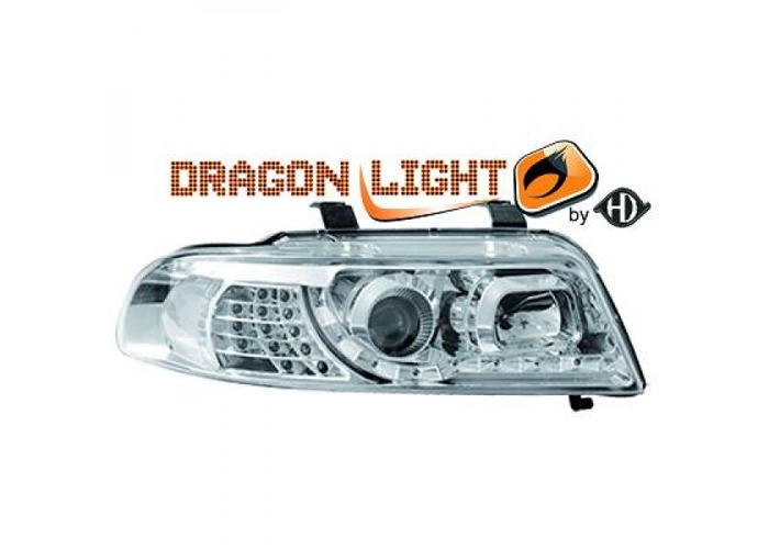 LHD Projector Headlights Pair LED Dragon Clear Chrome For Audi A4 8D2 99-00 - 2