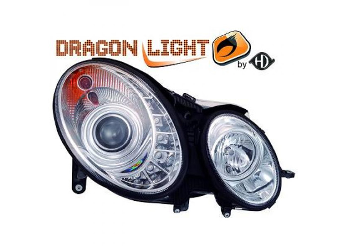 LHD Projector Headlights Pair LED Dragon Clear Chrome For Mercedes W211 06-09 - 1
