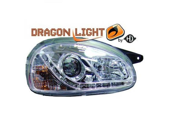 LHD Projector Headlights Pair LED Dragon Clear Chrome For Vauxhall Corsa B 93-00 - 2