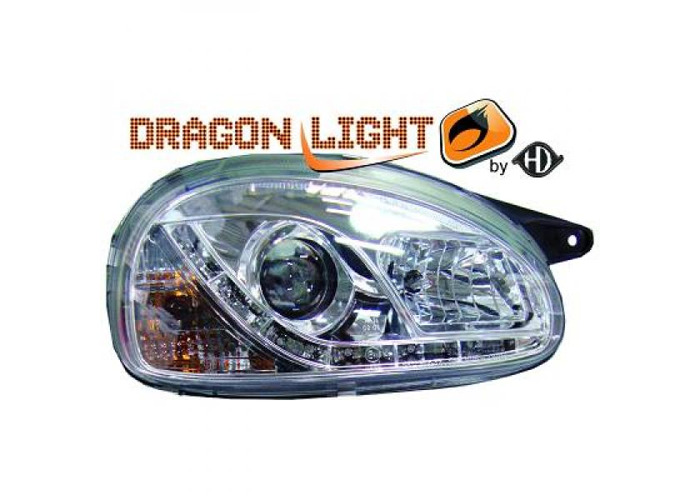 LHD Projector Headlights Pair LED Dragon Clear Chrome For Vauxhall Corsa B 93-00 - 1