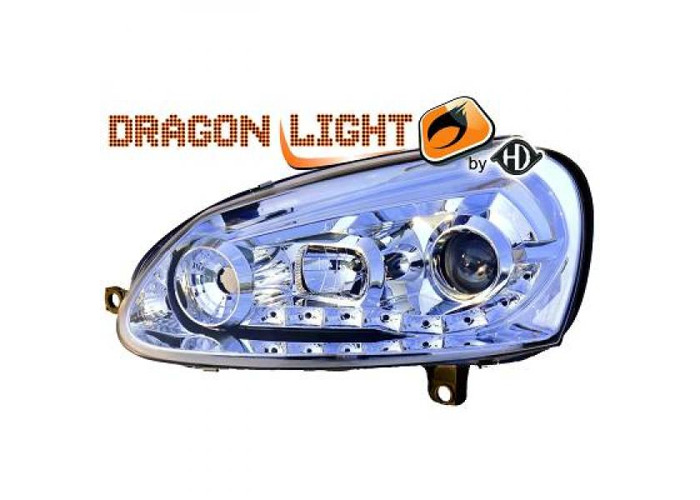 LHD Projector Headlights Pair LED Dragon Clear Chrome For VW Golf V 03-08 - 1