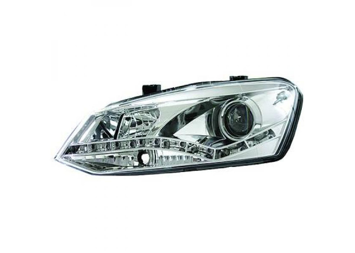 LHD Projector Headlights Pair LED Dragon Clear Chrome For VW Polo 3 5 Door 09-14 - 1