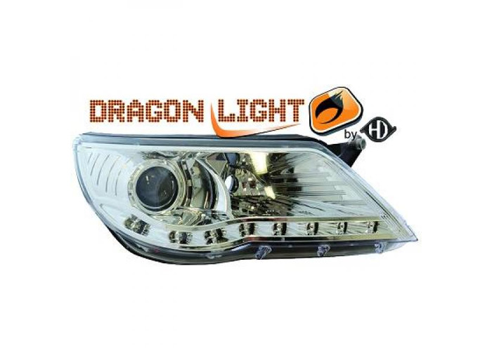 LHD Projector Headlights Pair LED Dragon Clear Chrome For VW Tiguan 07-11 - 1