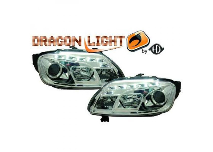 LHD Projector Headlights Pair LED Dragon Clear Chrome For VW Touran 03-06 - 2
