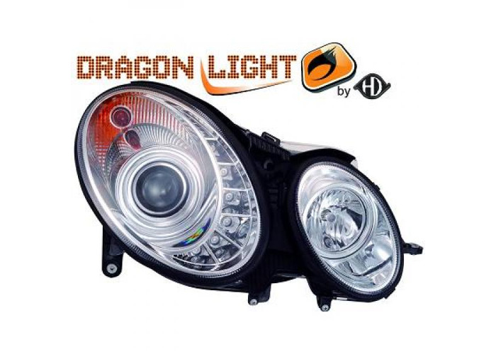 LHD Projector Headlights Pair LED Dragon Clear Chrome H1 For Mercedes W211 02-06 - 2