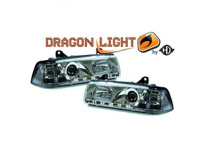 LHD Projector Headlights Pair LED Dragon Clear Chrome H1 H1 For BMW E36 90-99 - 1