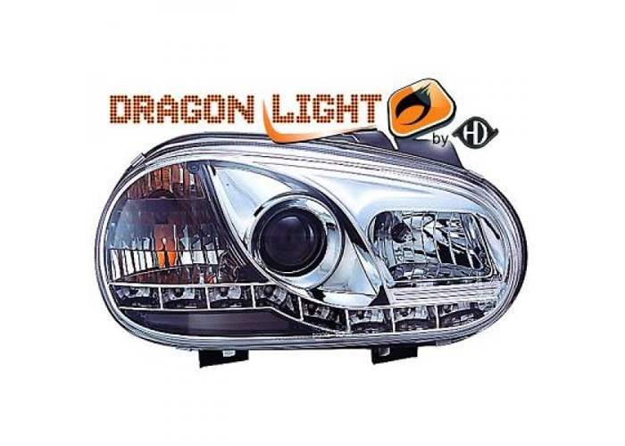 LHD Projector Headlights Pair LED Dragon Clear Chrome H1 H1 For VW Golf IV 97-03 - 2