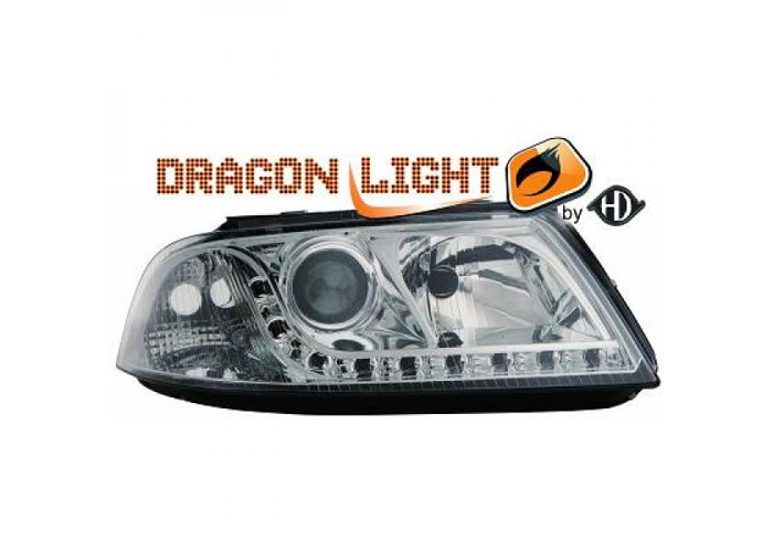 LHD Projector Headlights Pair LED Dragon Clear Chrome H7 H7 For VW Passat 00-05 - 2