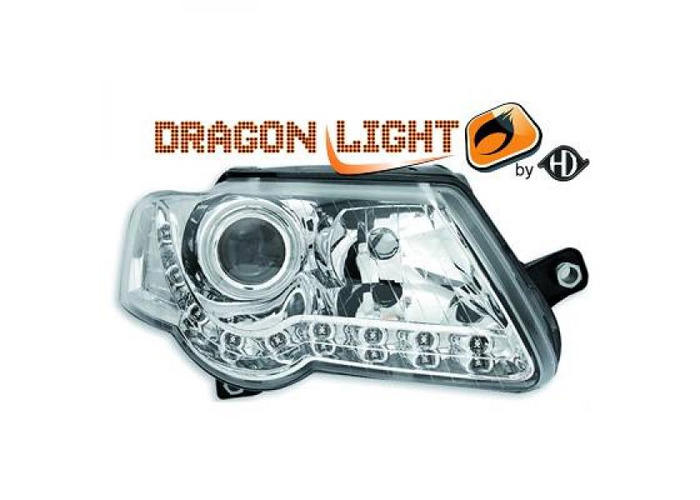 LHD Projector Headlights Pair LED Dragon Clear Chrome H7 H7 For VW Passat 05-10 - 1