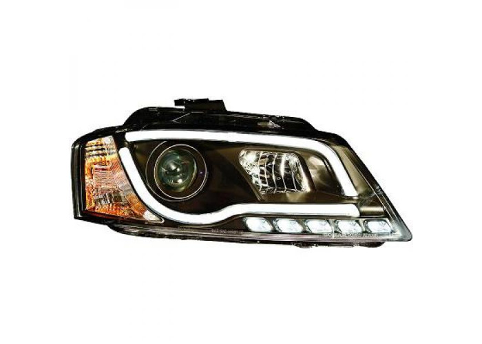 LHD Projector Headlights Pair LED DRL Clear Black For Audi A3 Hatchback 08- - 2