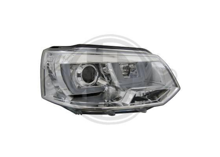 LHD Projector Headlights Pair LED DRL Clear Chrome For VW T5 Multivan 09-15 - 1
