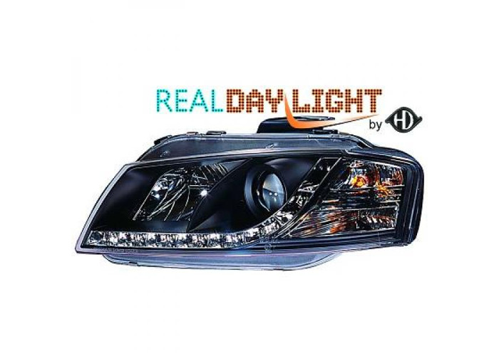LHD Projector LED DRL Headlights Headlamp Pair Clear Black For Audi A3 03-08 - 1