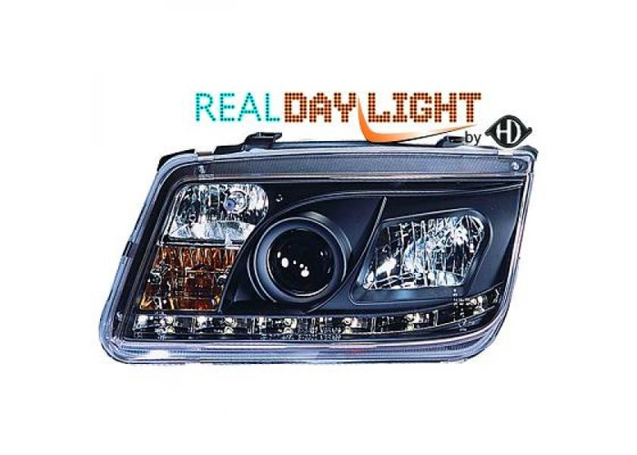 LHD Projector LED DRL Headlights Headlamp Pair Clear Black For VW Bora 98-05 - 2
