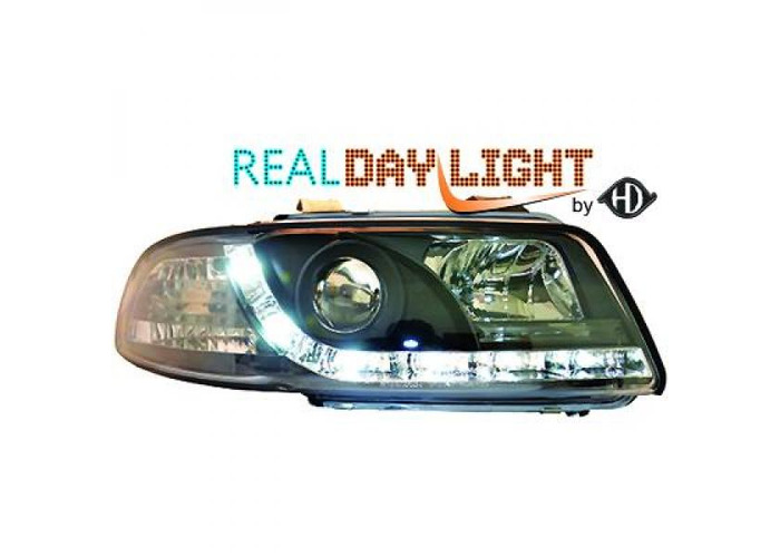 LHD Projector LED DRL Headlights Pair Clear Black For Audi A4 Avant 8D2 94-98 - 2