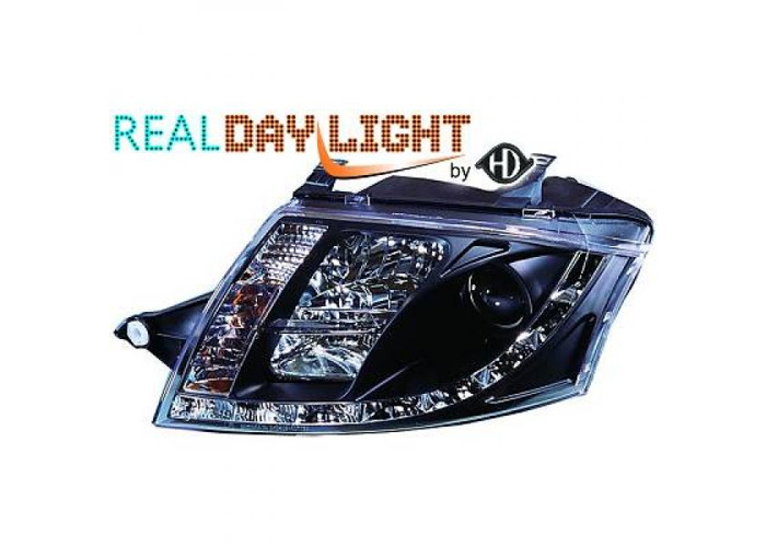 LHD Projector LED DRL Headlights Pair Clear Black For Audi TT Coupe Cabrio 98-06 - 1