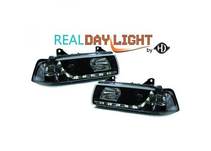 LHD Projector LED DRL Headlights Pair Clear Black For BMW 3 Series E36 90-99 - 1