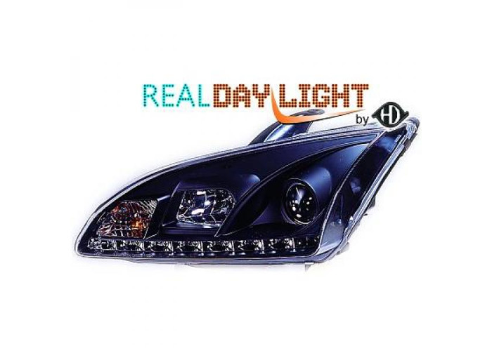 LHD Projector LED DRL Headlights Pair Clear Black For Ford Focus II 04-07 - 1
