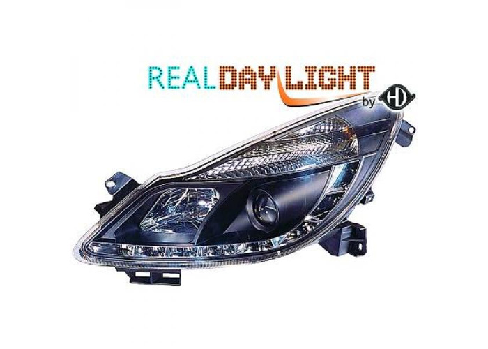 LHD Projector LED DRL Headlights Pair Clear Black For Vauxhall Corsa D 3 5 Door - 2