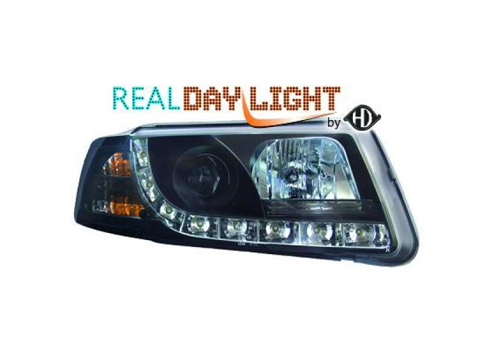 LHD Projector LED DRL Headlights Pair Clear Black For VW Passat B5 96-00 - 1