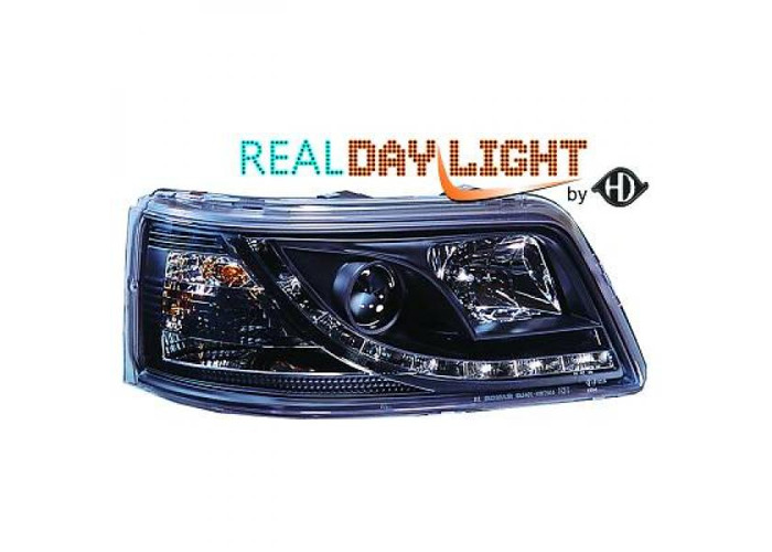 LHD Projector LED DRL Headlights Pair Clear Black For VW T5 Multivan 03-10 - 1
