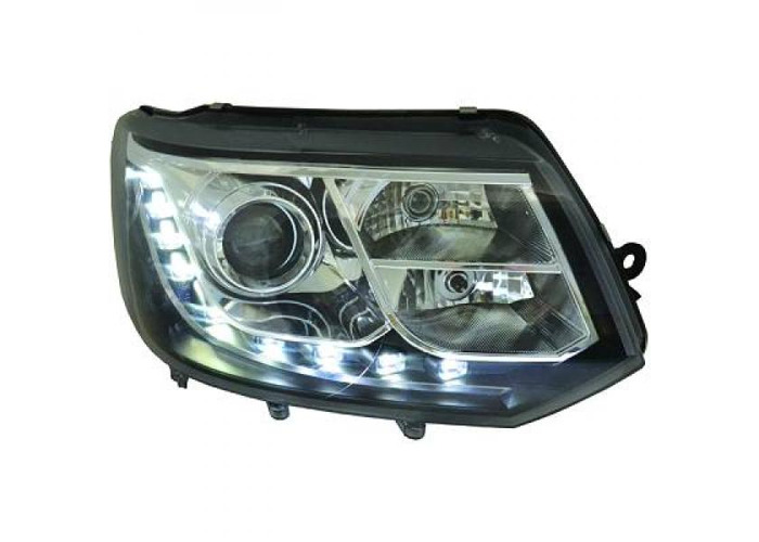 LHD Projector LED DRL Headlights Pair Clear Black H7 H15 For VW T5 Multivan - 1