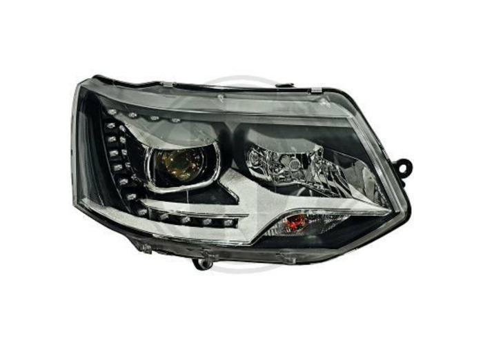 LHD Projector LED DRL Headlights Pair Clear Black PY24W For VW T5 Multivan 09-15 - 1