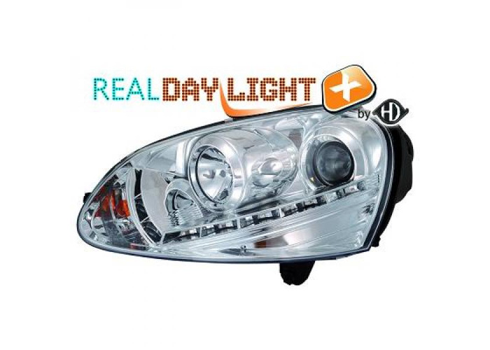 LHD Projector LED DRL Headlights Pair Clear Chrome D2S H1 For VW Golf V 03-08 - 1